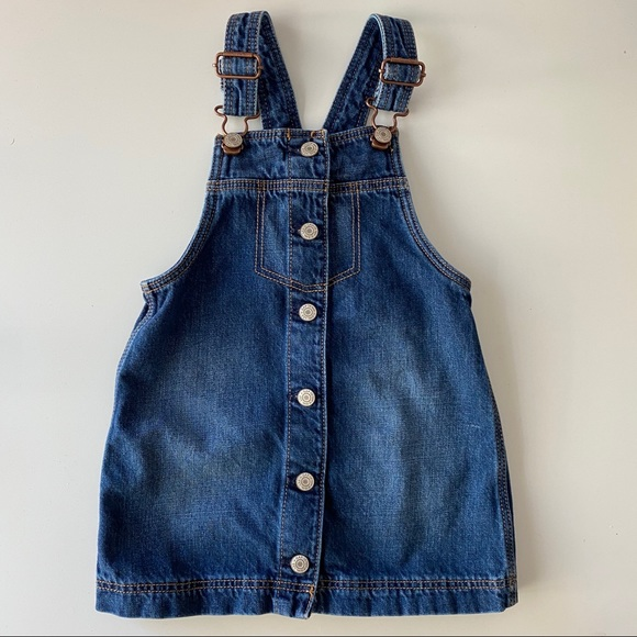 Baby Gap | denim button down front overall dress